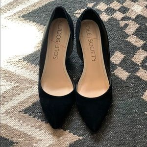 Sole Society Suede Wedge Pumps
